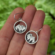 Alpine Dreamer Earrings - Mountain and Pines - Round Dangle Earrings - Sterling Silver - Gift for Outdoor, Adventure, & Nature Lovers