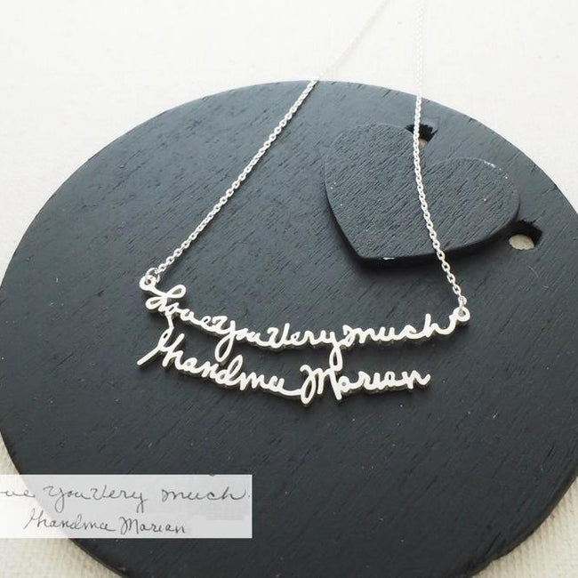 Custom Handwriting Jewelry • Handwriting Necklace • Personalized Signature Keepsake GIFT • Memorial Meaningful Gift • Mother's Gift