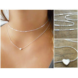 Set Of 2 Sterling Silver Necklaces, Silver Necklace Set, Heart Necklace, Silver Choker, Dainty Sterling Silver Layered Necklace Set