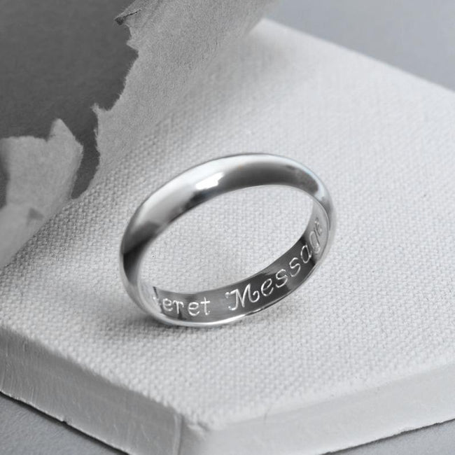 Personalized Sterling Silver Secret Message Ring