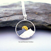 Mountain Jewelry 925 Sterling Silver Mountain Range Pendant Sun Wilderness Jewelry Sun Necklace Hiker Jewelry