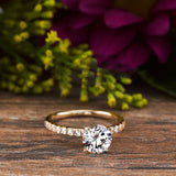 Moissanite Diamond Yellow Gold Color Engagement Ring Sterling Silver, Classic Wedding Ring, Moissanite Engagement Ring , Round Cut Ring