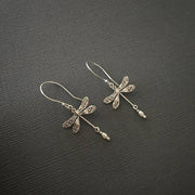 S925 Sterling Silver Dragonfly Earrings With Tiny Pearls