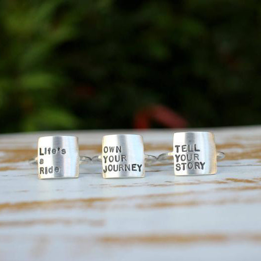 Storybook Ring Own Your Journey Ring Sterling Silver Personalized Inspirational Ring Inspirational Jewelry Quote Female Empowerment Women