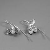 Magnolia Flower Earring Sterling Silver Flower Charm Dangle Real Flower Glossy Twig Magnolia Jewelry Gift for Her