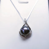 Black Pearl Necklace - Dainty 925 Box Chain Sterling Silver Pearl Necklace - Single Pearl Necklace
