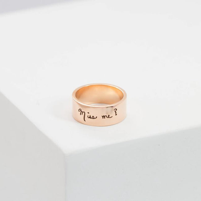 Memorial Handwriting Ring • Actual Handwriting Band Ring • Eternity Ring • Wedding Band • Unisex Ring • Personalized Handwriting Gift