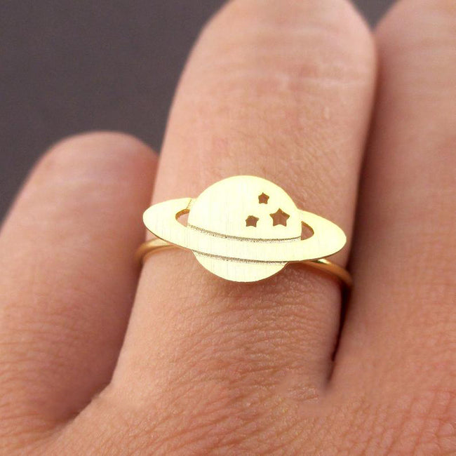 Saturn Planet Silhouette Shaped Cosmos Space Galaxy Stars Shaped Adjustable Ring in Gold or Silver | Minimalist Handmade Jewelry
