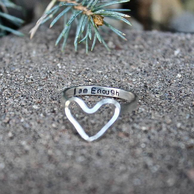 Inspirational Ring, Sterling Silver Heart Ring, I am Enough Jewelry, I am Enough Heart Ring, Inspirational Jewelry, You are Enough Gift Ring