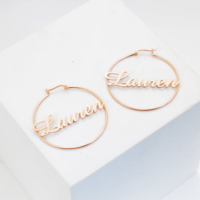 Sterling Silver Hoop Earrings • Name Earrings • Sterling Silver Hoops • Personalized Earrings • Name Hoops • Bridesmaid Gift • MOTHERS GIFT