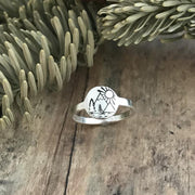 Mountain Pine and Sun Ring Sterling Silver Hand Stamped Mountain Tree Lake and Sun Ring