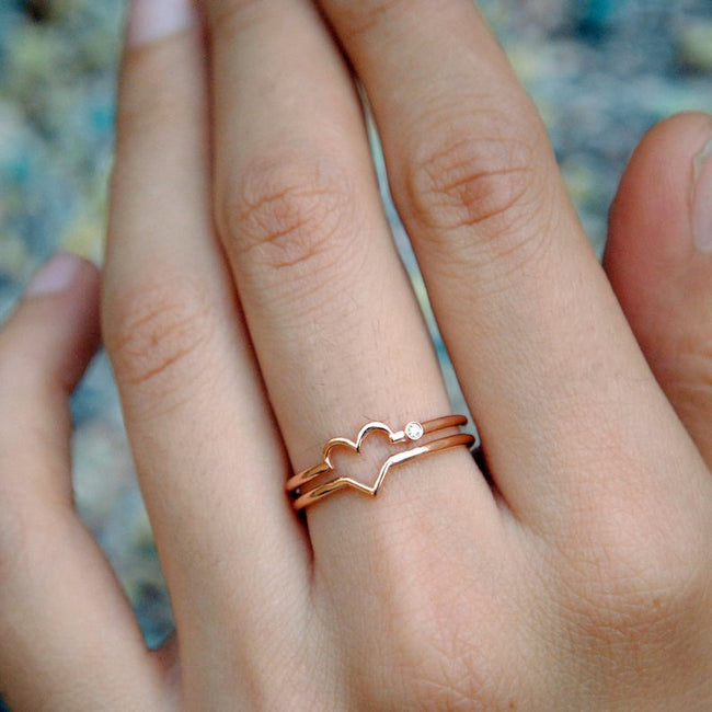 S925 Rose Gold Love Heart Ring. Diamond Heart Ring. Valentine's Day Gift for Wife. Double Band Lover Ring. Symbol of Love Gifts for Her