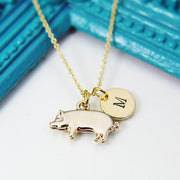 Sterling Silver Pig Charm Necklace, Pig Charm, Farm Animal Charm, Initial Necklace, Farmer Gift, Pet Gift