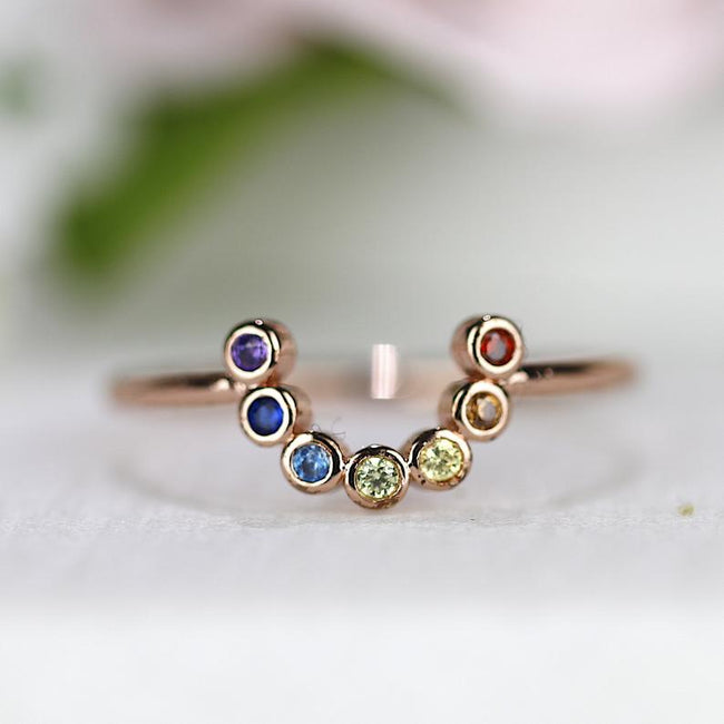 Seven Chakra Arc Ring Rainbow Ring Horseshoe Ring Multicolor Ring Yoga Ring Healing Ring Stackable Ring