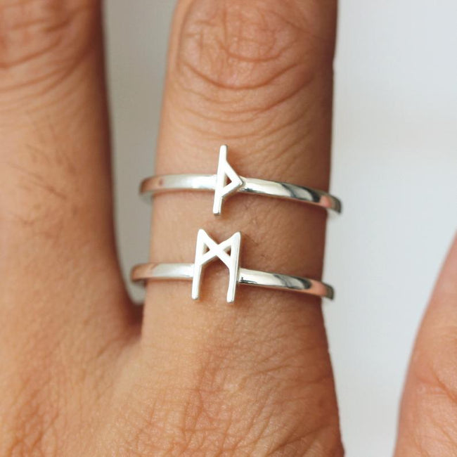 Personalized silver Rune ring,Custom Rune ring,protection rune jewelry,Fehu rune necklace,Berkano,Odal Rune,Elder Futhark,Norse Viking