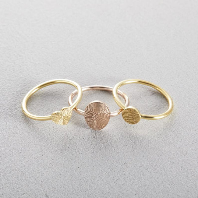 Memorial Thumbprint Ring | Personalized Fingerprint Jewelry | Custom Engraved Ring | Dainty Ring, Remembrance Ring, Minimalist Stacking Ring