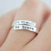 Be Brave Ring - Sterling Silver Butterfly Wrap Ring - Gift for Her - Inspirational Ring