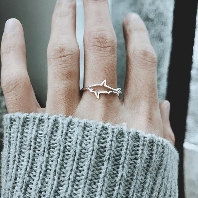 Silver Shark Ring, Dainty Shark Jewelry, Ocean Jewelry For Women, Shark Jewelry, Minimal Simple Ring, Ocean Ring
