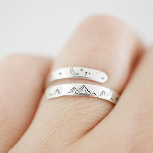 Mountain Wrap Ring - Sterling Silver Ring - Moon and Stars Ring
