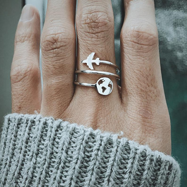 925 sterling silver World Map Ring with Airplane, Travel Ring, World Ring, Travel Gifts For Women, Adventure Ring Gift