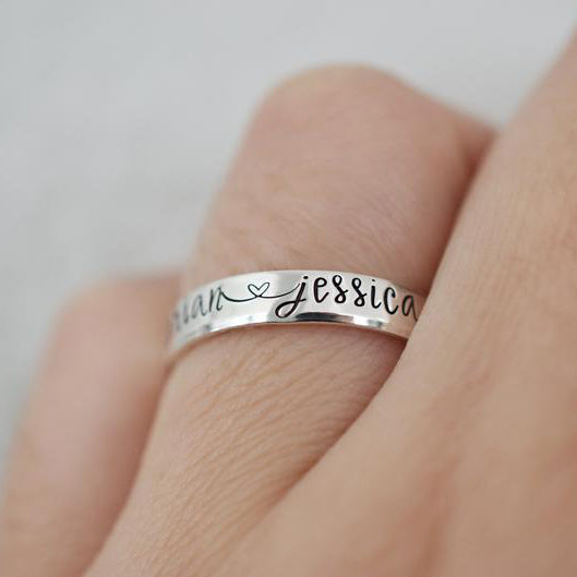 Custom Name Ring - Sterling Silver Ring - Couples Ring