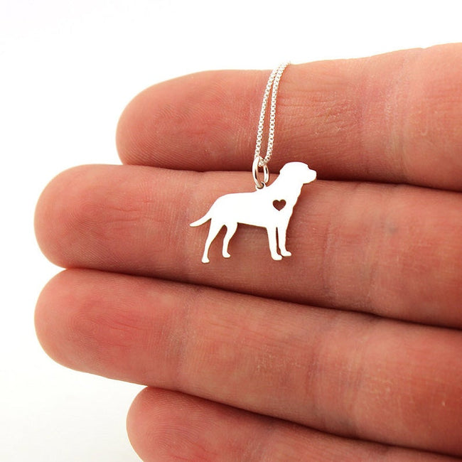 Labrador Retriever necklace sterling silver dog breeds pendant w Heart - Love Pet Jewelry Italian chain Women Best Cute Gift Personalized