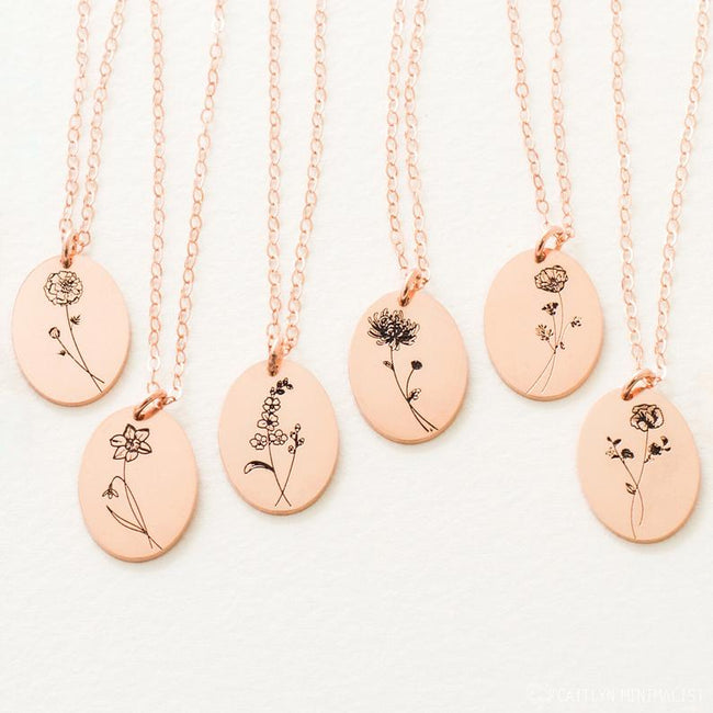 Floral Necklace • Dainty Birth Flower Necklace in Sterling Silver Gold and Rose Gold • Gift For Her