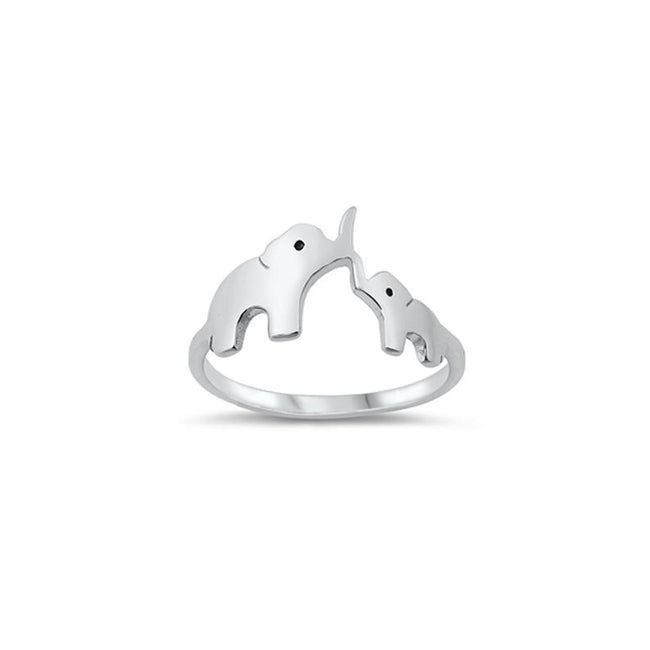 Mother and Baby Elephants Ring in Sterling Silver, Maternal Love Ring, Good Luck Ring, Protective Jewelry, Ring for Mother