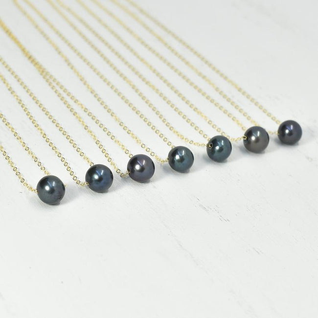 Floating Pearl Necklace, Pearl Necklace, Sterling Silver Necklace, Bridesmaid Gift, Pearl Jewelry