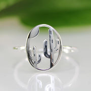 925 Sterling Silver Cactus Ring Cactus and Moon Ring Cacti Ring Silver Cactus Ring Silver Stacking Ring Southwest Desert Ring