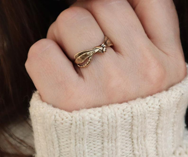 Dragonfly Ring, 925 Sterling Silver Ring for Women