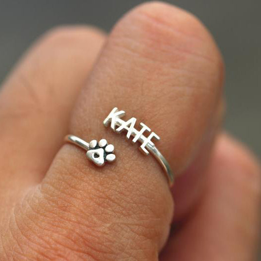 925 silver word ring,name ring,silver paw ring,adjustable ring,initial silver ring
