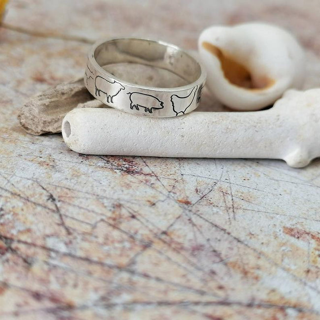 Farmed Animals Sterling Silver Ring