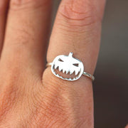 Sterling silver Halloween ring,Pumpkin jewelry, Ghost Ring, Bat Ring, Horror inspired ring,Pumpkin Ring