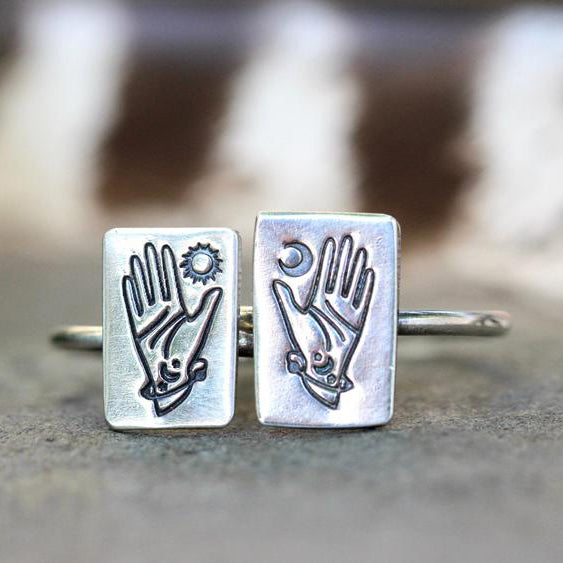 925 Sterling Silver Tarot Ring Witch Ring Silver Hand Ring Occult Ring Moon Ring Sun Ring Celestial Ring Celestial Jewelry