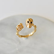 925 sterling silver Gold plated ring skull ring skeleton hand bone ring size adjustable womens ring gold