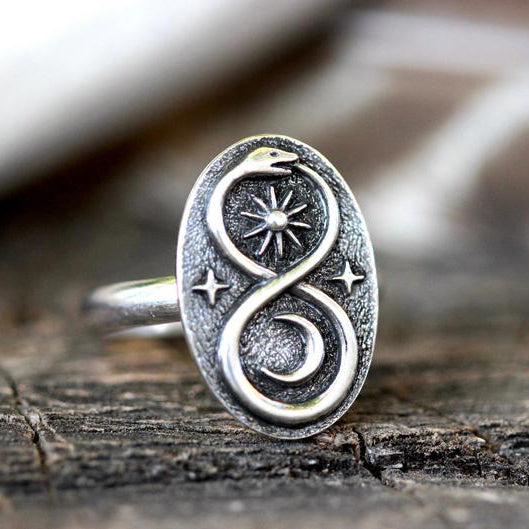 Snake Ring Silver Ouroboros Ring Serpent Ring Celestial Ring Witch Ring Sun and Moon Ring Sterling Silver Magic Ring Mystical Ring
