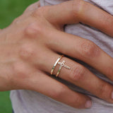Celebrity Style Cross Ring - Double Wrap Cross, By-Pass Cross Ring amulet
