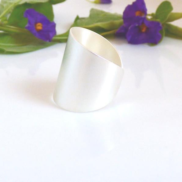 Silver Ring, Band Tube Ring, Silver Cuff Ring, Wide Band Ring, Adjustable ring, Tube ring, Simple big ring, Statement ring, Silver jewelry