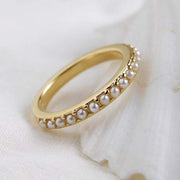 Small Pearl Half Eternity Ring Simple Modern Jewelry