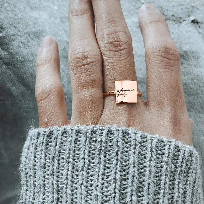 【 Black Friday 30% OFF!】I Am Enough Ring Choose Joy Ring S925 Sterling Silver Personalized Ring