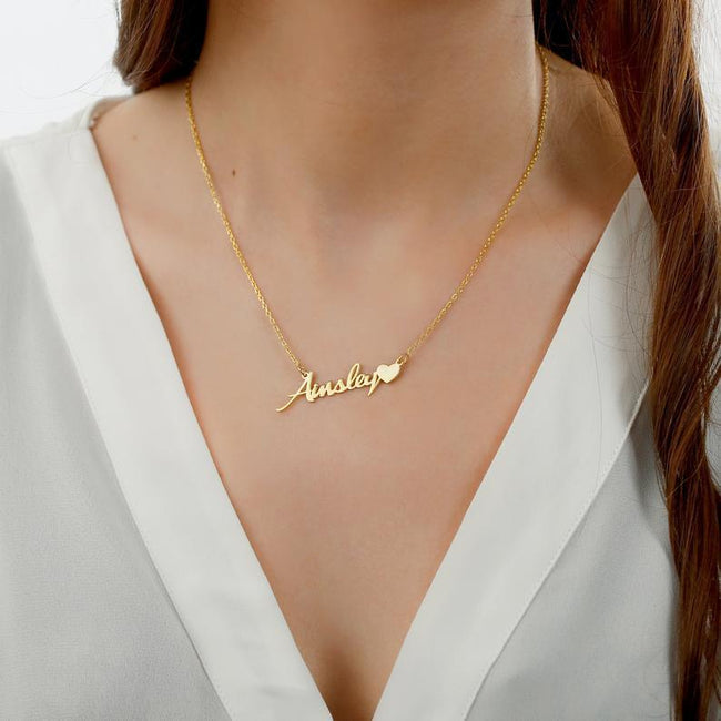 Name Necklace with Heart, Gold Name Necklace, Custom Word Necklace, Personalized Gift for Women, Personalized Necklace, My Name Necklace name Necklace Romanticwork Jewelry