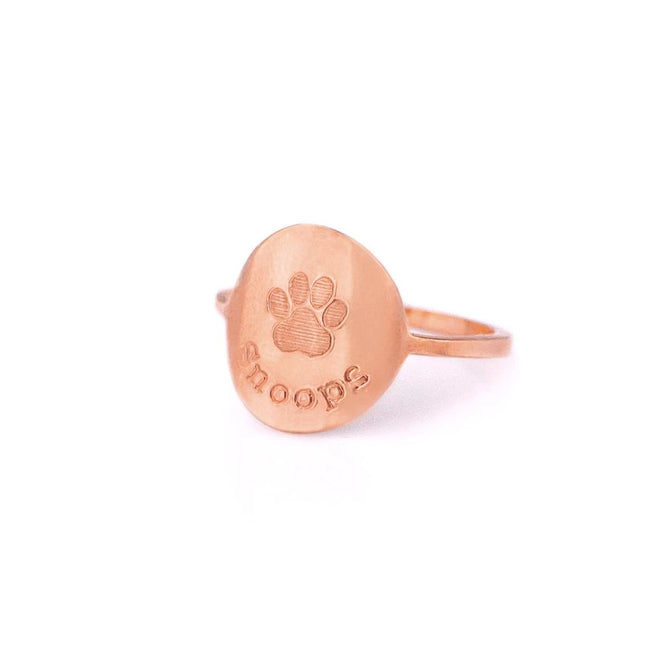 925 Sterling Silver Paw Print Ring Pet Memorial Jewelry Loss Of Pet Ring