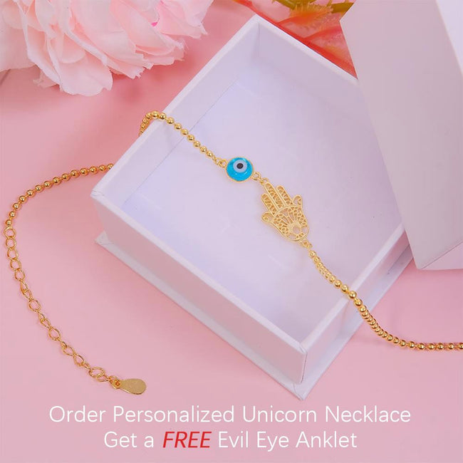 Personalized Unicorn Necklace, Order This Item, Get a Free Evil Eye Anklet Personaliezed necklace enjoy life creative