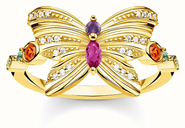 Glam And Soul | Gold Plated Butterfly Ring in 925 sterling silver