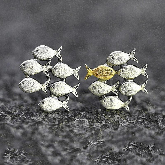 Solid Sterling Silver Stud Earrings Mismatch School of fish with one gold color swimming upstream Animal Earring enjoy life creative