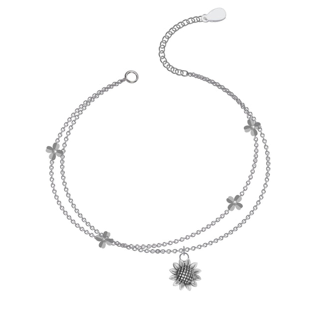 Sunflower Anklet, Sterling Silver Beaded Ankle Bracelet, Good Luck Charm Jewelry, Boho Foot Jewelry, Sunflower Charm Anklet Chain flower anklets enjoy life creative
