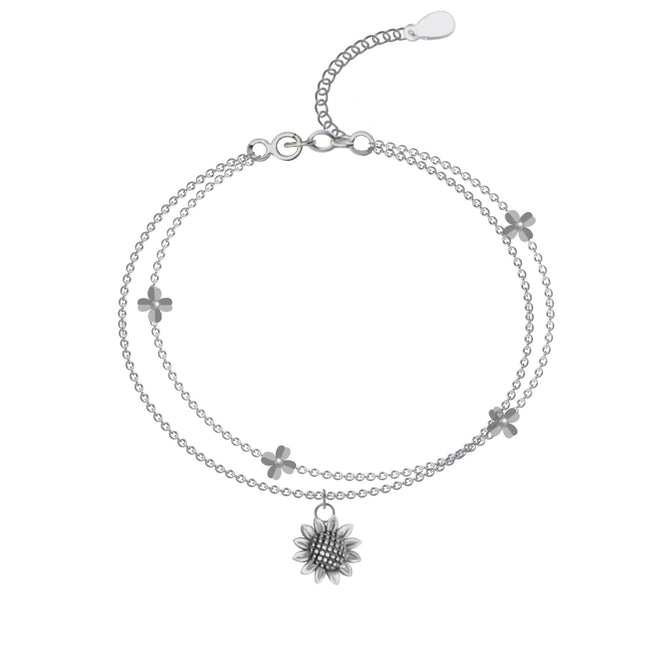Sunflower Anklet, Sterling Silver Beaded Ankle Bracelet, Good Luck Charm Jewelry, Boho Foot Jewelry, Sunflower Charm Anklet Chain flower anklets enjoy life creative flower
