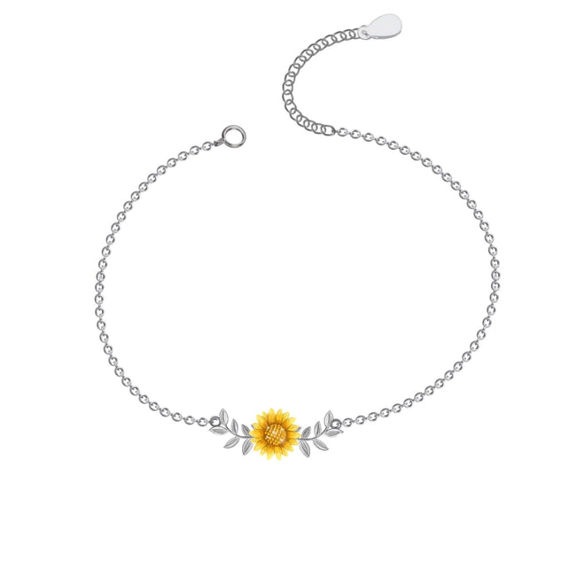 Sunflower Anklet, Sterling Silver Beaded Ankle Bracelet, Good Luck Charm Jewelry, Boho Foot Jewelry, Sunflower Charm Anklet Chain flower anklets enjoy life creative leaf