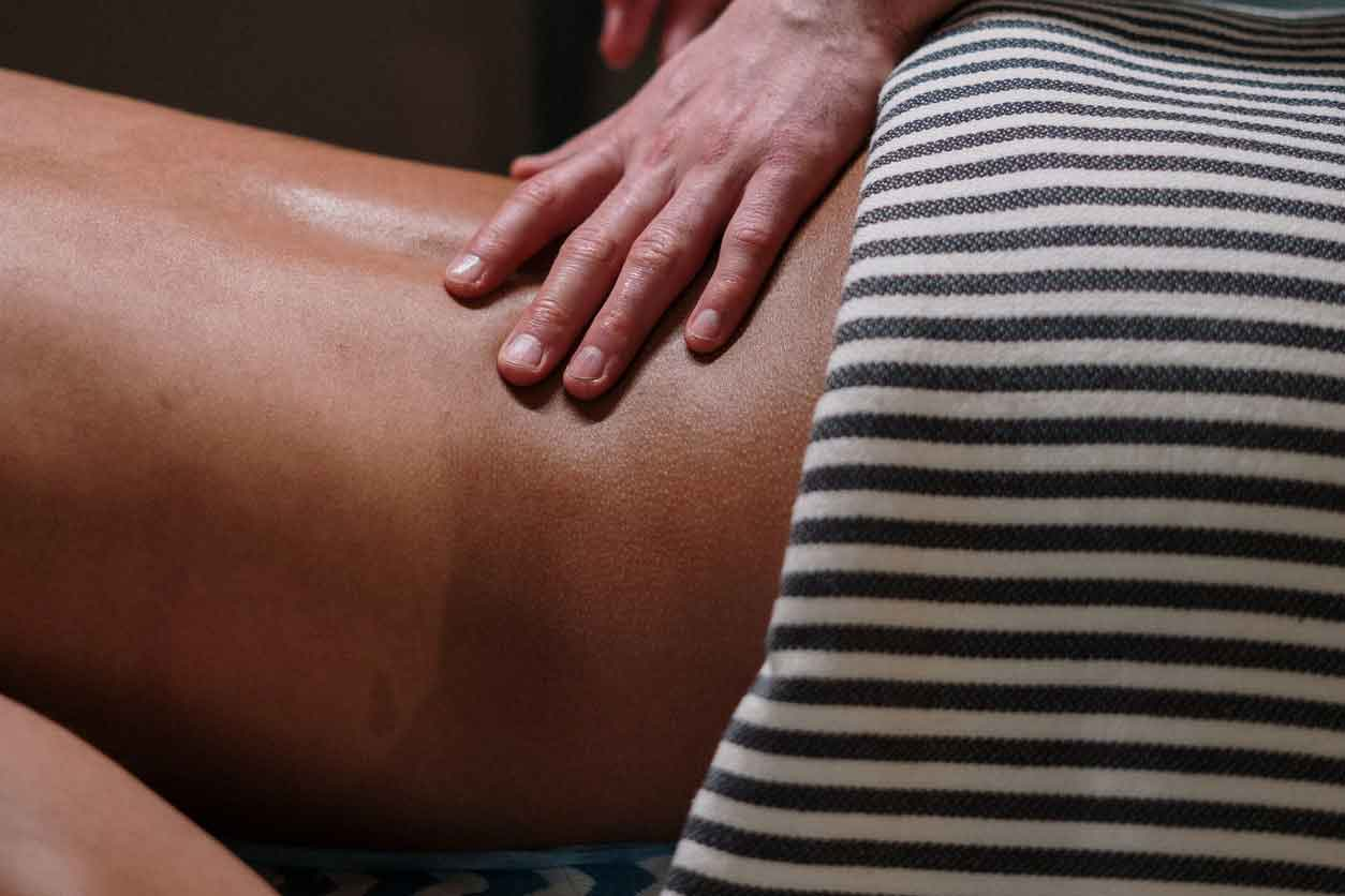 Person enjoying a tantric massage